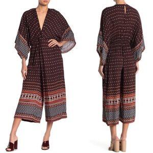 Angie brown twist front kimono jumpsuit
